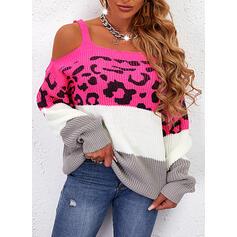 Impresión Trozos de color Leopardo Top Con Hombros Casual Suéteres
