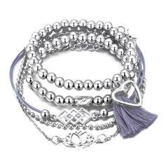 Snygg Charmen Legering Armband (Sada 5 párov)