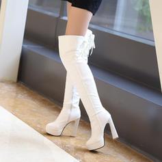 Naisten Keinonahasta Piikkikorko Avokkaat Platform Suljettu toe Kengät Knee saappaat Yli saappaat Lumi saappaat jossa Vetoketju Nauhakenkä kengät