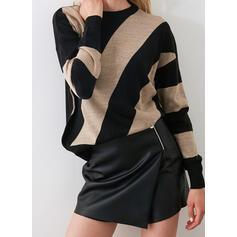 カラーブロック ラウンドネック カジュアル セーター