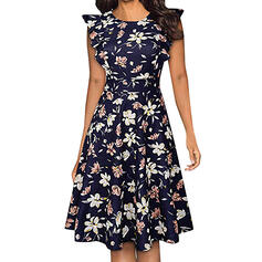 Print/Floral Sleeveless A-line Knee Length Casual/Elegant Skater Dresses