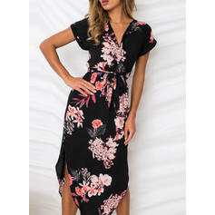 Print/Floral Short Sleeves Sheath Midi Sexy/Casual Dresses