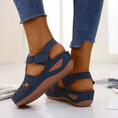 Női PU Ékelt sarkú Szandál -Val tépőzáras cipő