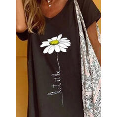 Print/Floral Short Sleeves Shift Above Knee Casual/Vacation T-shirt/Tunic Dresses