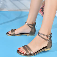 4c5f96b85e ... Women's Real Leather Flat Heel Sandals Flats Peep Toe With Buckle shoes  ...