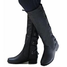 Kvinner PU Lav Hæl Stor Hæl Støvler Knehøye Støvler med Spenne Glidelås Blondér sko