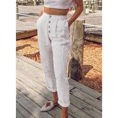 Les poches Froncé Grande taille Longue Décontractée Couleur Unie Pantalon