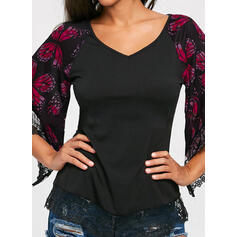 Animal Print Lace V-Neck Flare Sleeve 3/4 Sleeves Casual Elegant Plus Size Blouses
