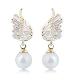 Shining Imitation Pearls Zircon Copper With Imitation Pearl Zircon Women's Fashion Earrings