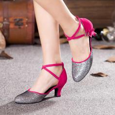 Mulheres Salão de Baile Saltos Couro Espumante Glitter Latino