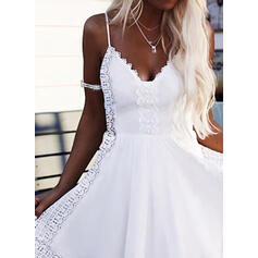 Solid Lace Sleeveless A-line Above Knee Casual/Vacation Slip/Skater Dresses