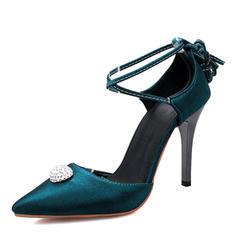 Donna raso di seta come Tacco a spillo Sandalo Stiletto Punta chiusa con Allacciato scarpe
