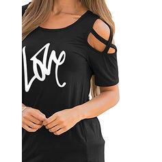 Print Cold Shoulder Korte Mouwen Casual Overhemd