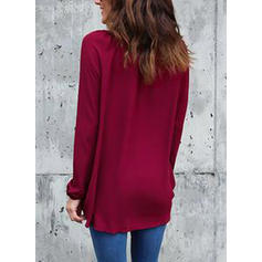 Solid V-Neck Long Sleeves Casual Elegant Shirt Blouses