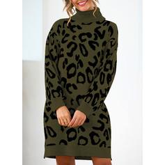Animal Print Chunky knit Turtleneck Sweaters