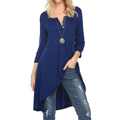 Solid Long Sleeves Shift Asymmetrical Casual Dresses