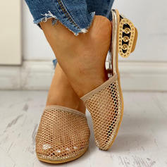 Women's Mesh Chunky Heel Slippers With Hollow-out shoes