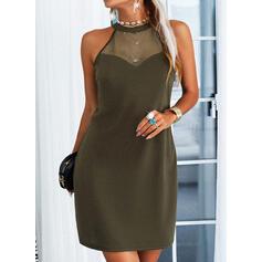 Solid Sleeveless Sheath Above Knee Casual Dresses