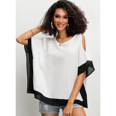 Solid Cold Shoulder Batwing Sleeve 1/2 Sleeves Casual Blouses