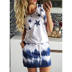 Print Short Sleeves Sheath Above Knee Casual Dresses