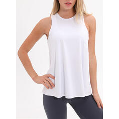 Round Neck Sleeveless Solid Color Sports Tees