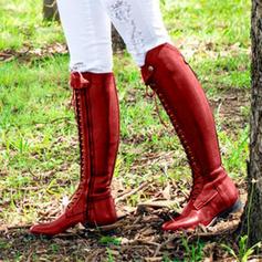 Vrouwen PU Flat Heel Flats Closed Toe Laarzen met Vastrijgen schoenen
