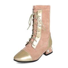 Femmes Similicuir Talon bottier Bottes Bottes mi-mollets Martin bottes avec Perle d'imitation Dentelle Talon de bijoux chaussures