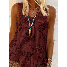 Print Floral Lace Round Neck Sleeveless Casual Tank Tops