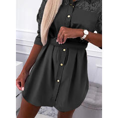 Lace/Solid Long Sleeves Sheath Above Knee Little Black/Casual/Elegant Shirt Dresses