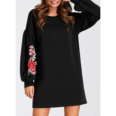 Embroidery Long Sleeves Shift Above Knee Little Black/Casual Dresses