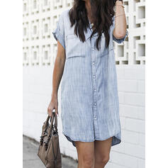 Solid Short Sleeves Shift Above Knee Casual Shirt Dresses