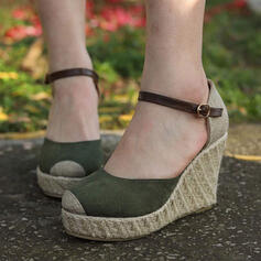 Women's PU Wedge Heel Pumps With Buckle shoes