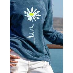 Impresión Floral Figura Cuello redondo Manga Larga Casual Camisetas