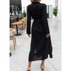 Solido Maniche lunghe A trapezio Camicia Piccolo nero Maxi Abiti