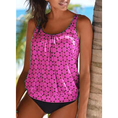 Dot Print Strap Round Neck Fresh Tankinis Swimsuits