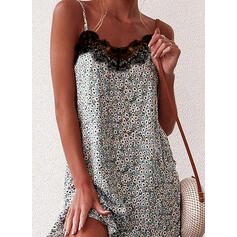 Lace/Print/Floral Sleeveless Shift Above Knee Casual Slip Dresses