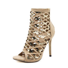 Women's Suede PU Stiletto Heel Sandals Pumps Peep Toe With Zipper Hollow-out shoes