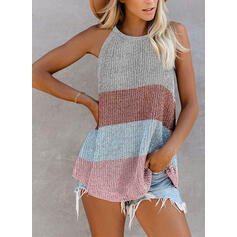 Color Block Round Neck Sleeveless Tank Tops