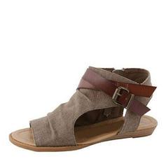 Femmes Tissu Talon plat Sandales avec Boucle chaussures