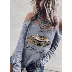 Sequins Leopard Cold Shoulder Long Sleeves Casual Blouses