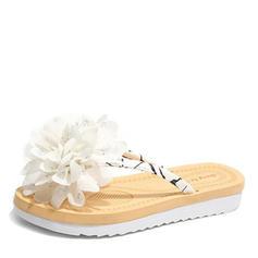 Women's Leatherette Flat Heel Sandals Flats Slingbacks Flip-Flops With Flower shoes