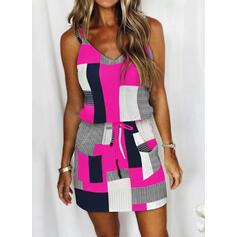Tisk/Color Block/Pruhované/Kostkovaný Bezrukávů Pouzdrové Nad kolena Neformální Košilka Šaty