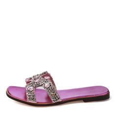 Donna PU Senza tacco Sandalo Ballerine Ciabatte con Strass scarpe