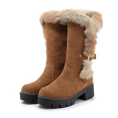 Women's Suede Chunky Heel Mid-Calf Boots Snow Boots With Buckle Zipper shoes
