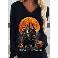 Print Halloween V-Neck Long Sleeves Sweatshirt