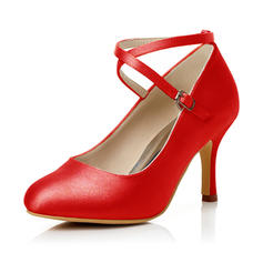 Women's Satin Stiletto Heel Closed Toe Pumps With Buckle