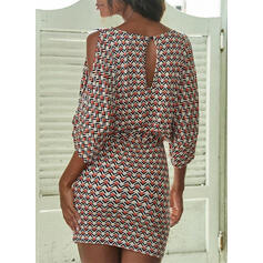 Print 1/2 Sleeves/Cold Shoulder Sleeve Bodycon Above Knee Casual/Elegant Dresses
