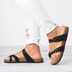 Women's PU Flat Heel Sandals Flats Flip-Flops Slippers With Buckle shoes