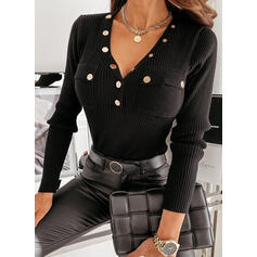 Solid V-Neck Long Sleeves Button Up Basic Knit Blouses