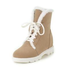 Femmes Suède Talon bas Bout fermé Bottes Bottines Bottes neige avec Dentelle Fausse Fourrure chaussures